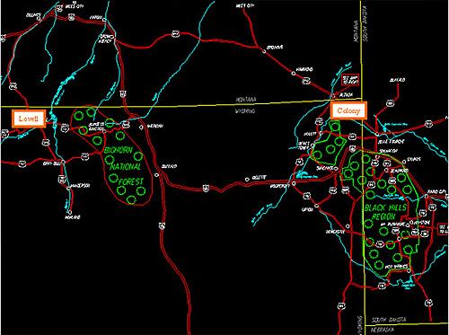 Colony(右)とLovellの鉱区マップ(広域版)